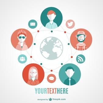 Vetor de mídia social moderna mundial