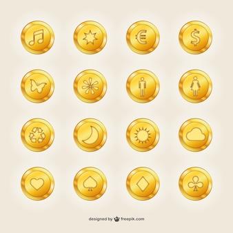Moedas de ouro com símbolos