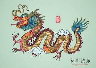 Gráfico dragão com garras oriental vetor