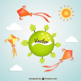 Planeta verde com pipas coloridas