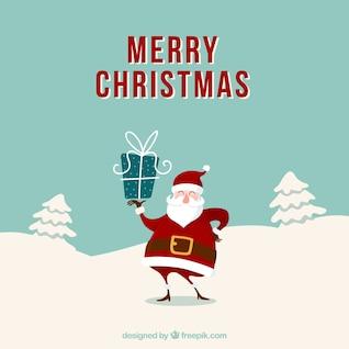 Grunge cartão de Natal com Papai Noel