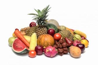 Grupo de frutas asiáticas ou tropicais na cesta, Tailândia