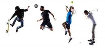 Grupo de pessoas que jogam golfe, tênis, futebol e skate