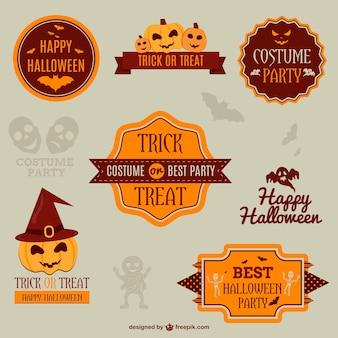 Halloween emblemas e fitas de decoração