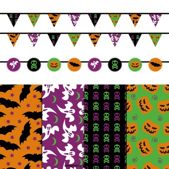 Halloween editável padrões e guirlandas pacote