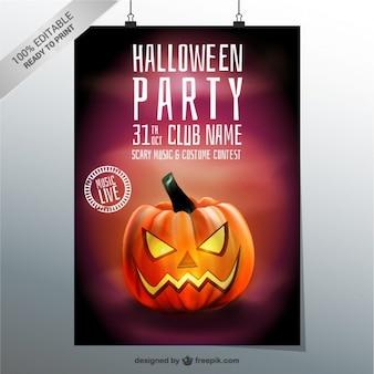 Halloween modelo de cartaz festa com abóbora
