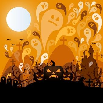 Noite do dia das bruxas em um modelo de cemitério