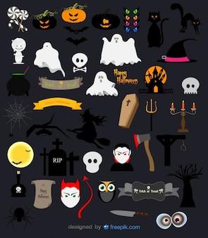 Halloween vector pacote de abóbora, fantasmas, caveiras e objetos assustadores