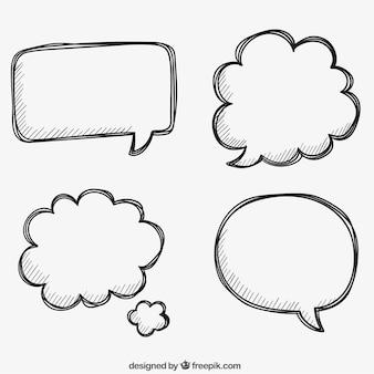 Desenhadas mão bolhas de discurso