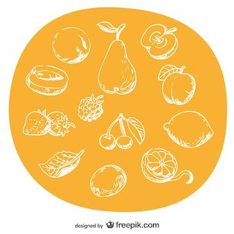 Frutas desenhados à mão definidos