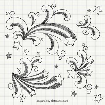 Desenhadas mão estrelas cadentes