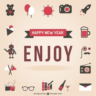 Novo conjunto de ícones de feliz ano