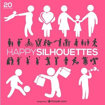 Pessoas felizes silhuetas definido