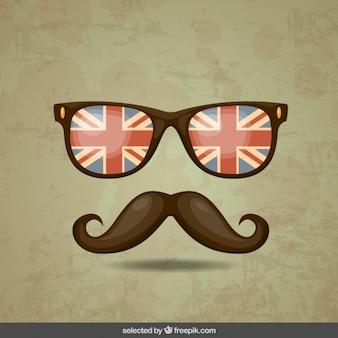 Hipster bigode e óculos