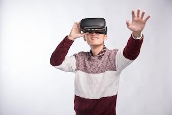 Homem, Desgastar, virtual, realidade, headset