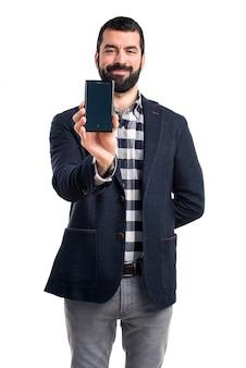 Homem, falando, móvel