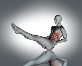 Homem que faz o sit-nos com as pernas levantadas