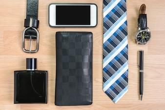 Homens acessórios preto e azul elegante