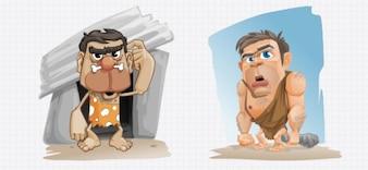 Homens das cavernas dos desenhos animados ilustração do caráter