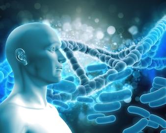 Humana com hélice do DNA
