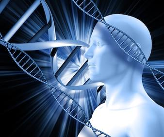 Humana rodeado por DNA