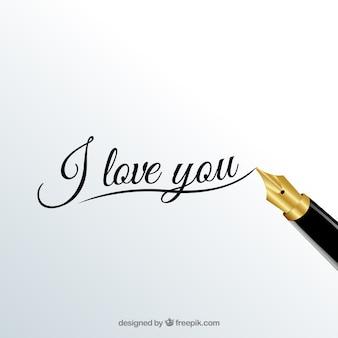 Eu te amo caligrafia