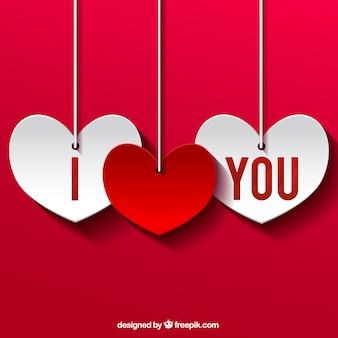 Eu te amo corações do entalhe