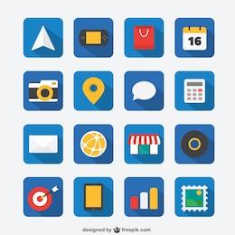 Icon set plana para web e aplicativos móveis