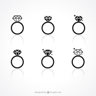 Ícones anel de diamante