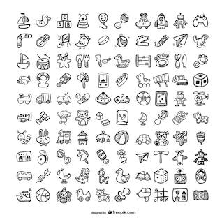 ícones brinquedos do doodle set