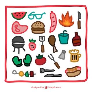ícones churrasco desenhado mão