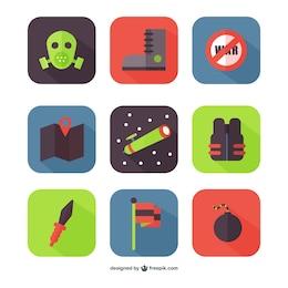 ícones coloridos de guerra