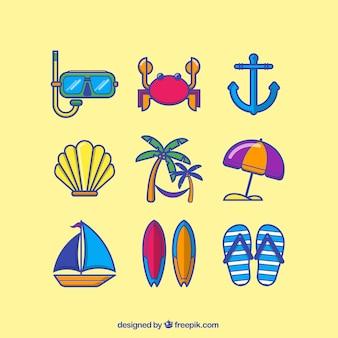 Ícones coloridos do verão