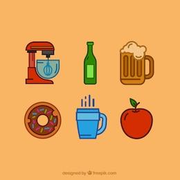 Ícones da cozinha e comida