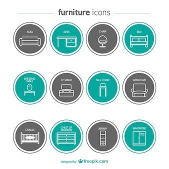 Ícones da mobília ajustados