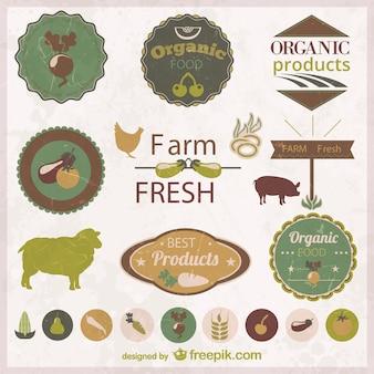 Ícones de alimentos orgânicos e adesivos