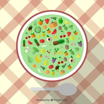Ícones de alimentos saudáveis em uma placa