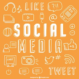 ícones de mídia social de desenho