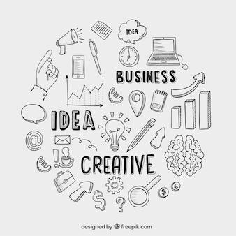 Ícones desenhados mão do negócio