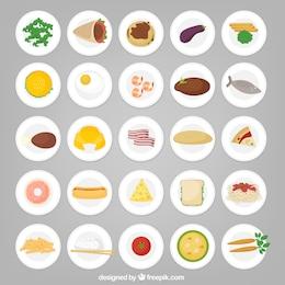 Ícones do alimento em placas