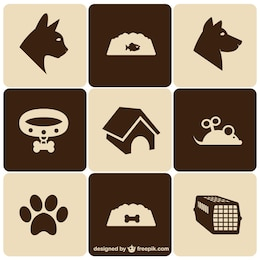 Ícones do animal de estimação do estilo retro set