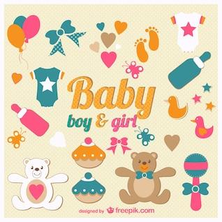 Ícones do bebê set vector
