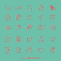 ícones do Doodle do casamento set