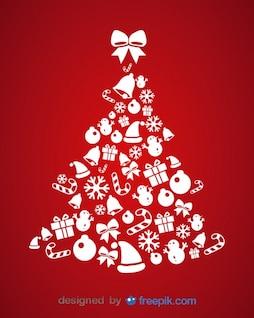 Ícones do Natal cartão do vetor da ilustração da árvore