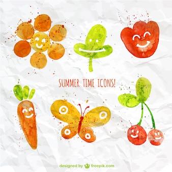 Ícones do verão Aguarela