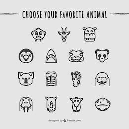 Ícones dos animais do pacote
