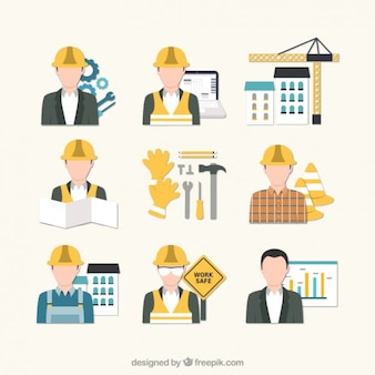 Ícones engenheiro civil