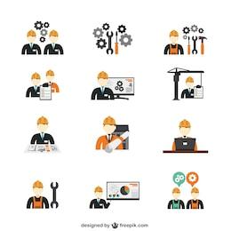 Ícones engenheiro de construção