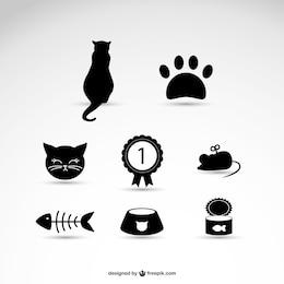 ícones gato de estimação de vetores