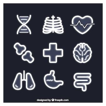 Ícones médicos no estilo de néon
